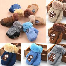 Winter Warm Thicken Baby Boy Girls Child Kids Fur Ski Gloves Neck String Mittens