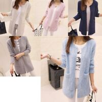 Women Long Cardigan Cotton Pockets Open Stitch Spring Casual Full Sleeve Sweater