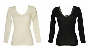 Camiciola donna manica lunga con pizzo 85% lana merino e 15% seta RAGNO articolo