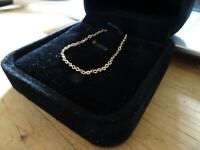 """CLEARANCE - 18ct ROSE GOLD Delicate Slim Necklace Neck chain 18"""" Boxed"""