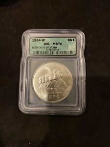 1994-W $1 Women in Military Commemorative Silver Dollar - MS 70 -