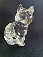 Sitting Cat Figure Clear Crystal Glass Figurine Paperweight