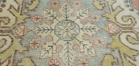 "Rare Antique 1930-1939s Wool Pile Muted  Dye Distressed Oushak Rug 4'2"" x 7'8"""