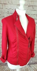 YEST Red Ladies Top Double Zips Flattering Ruched & Stretch Panel Fit Size UK 10