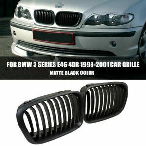 2x Matte Black 4DR Front Kidney Grille For 98-01 BMW 3-Series E46 325i 330i 323i