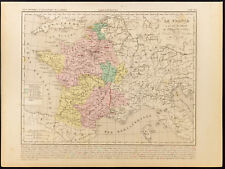 1859. France De Philippe VI (Valois). Mapa geográfica antigua Houze
