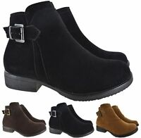 LADIES WOMENS FLAT GRIP SOLE ANKLE CHELSEA WINTER ZIP BUCKLE CASUAL SHOES BOOTS