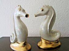 2 Vintage Fine China Porcelain Seahorse Figurines Handpainted 24 karat Gold Trim