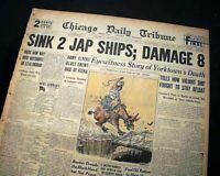 USS YORKTOWN Aircraft Carrier Battle of Midway SINKING 1942 WWII Old Newspaper