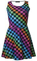 Check Squares Checkerboard Checker Rockabilly Alternative Flare Skater Dress