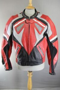 RICHA RED, BLACK & SILVER LEATHER BIKER JACKET WITH REMOVABLE CE ARMOUR 42 INCH