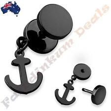 316L Surgical Steel Black Ion Plated Fake Ear Plug With Anchor Dangle