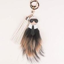 Genuine Black Beige Nude Fur Key Chain Ring Bag Charm Karlito Monster Karl Doll