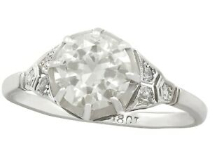 Antique 1920s 1.60 Ct Old Cut Diamond 18k White Gold Solitaire Ring
