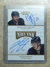 13-14 Panini Contenders NHL Ink Dual Gold DUSTIN BYFUGLIEN / JACOB TROUBA /10
