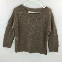 Ann taylor LOFT mohair wool blend pullover Sweater Women's size small brown thin