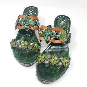 SPRING STEP 41 Kitten Heels Sandals Low Floral Leather Tie Slides Green 9.5 10