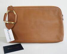 a0fbdf389658 RALPH LAUREN COLLECTION Tan Leather Large STIRRUP Clutch Cosmetic Bag  Wristlet