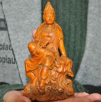 Old China boxwood wood Pure Hand-carved kwan-yin GuanYin Goddess buddha statue