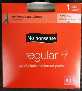 No Nonsense Reinforced Pantyhose Nylon Lag Size Plus 2 Tan 329 Made in USA New