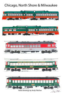 "Chicago, North Shore & Milwaukee 11""x17"" Poster by Andy Fletcher signed"