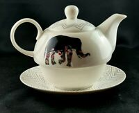Fine Two Cup Bone China Teapot with Underplate - Tusk Love - Made in China
