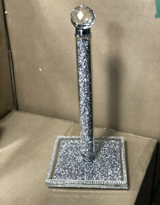 CRUSHED DIAMOND NEW STYLE CRYSTAL SILVER KITCHEN ROLL HOLDER, TISSUE HOLDER