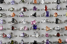 2pcs Wholesale Fashion Zircon Gemstone Metal Silver Plated Ring Lots Jewlery