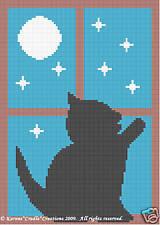 Crochet Patterns -KITTEN/CAT IN THE WINDOW Graph *EASY*