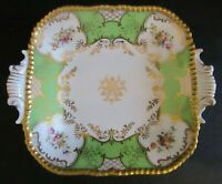 """ANTIQUE COALPORT PANEL GREEN BATWING 9"""" or 23cm SQUARE TWIN EARED SERVING PLATE"""