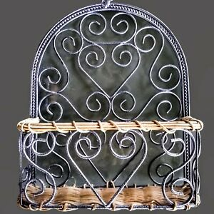 Vintage Home Hanging Heart Scrolls Wall Wire and Rattan Wicker Basket Planter