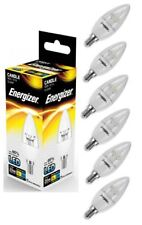 6x Energizer E14 SES Candle LED Light Bulb 250lm Clear 3.4W=25W Warm White 2700k