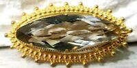 vintage gilded brooch ussr big stone