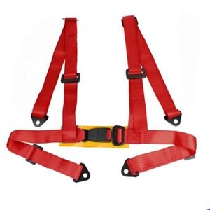 """2"""" UNIVERSAL SINGLE 4 POINT HARNESS RACING SEAT BELT RED W/ SNAP IN BUCKLE"""