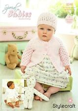 Stylecraft 9346 Knitting Pattern Baby Girls Cardigans Hat Special for Babies DK