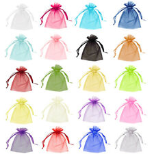 50 & 100 Organza Bags Wedding Favour Pouches Jewellery Packaging Mesh Drawstring
