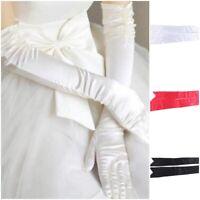 Novel Row Beads Wedding Gloves Elastic Satin Long Elbow Knot Bridal Gloves QL