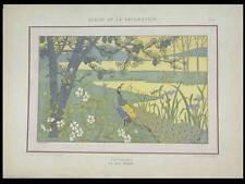 PAON ET PAYSAGE -1900- LITHOGRAPHIE, HENRI GILLET, TAPISSERIE ART NOUVEAU