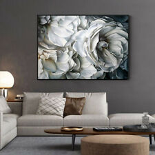 Nordic White Rose Flower Abstract Art Poster Print Wall Art Canvas Painting