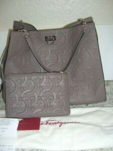 SALVATORE FERRAGAMO TRIFOLIO TOTE BAG TAUPE EMBOSSED QUILTED LEATHER HOBO NWT