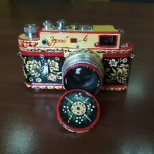 Zorki-4 Zorki Russian camera. New design. Stylized as Hohloma. Hand made.