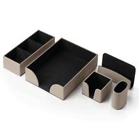 InTempo Sottomano accessori scrivania 6 pezzi eco pelle grigio tortora 4000BX22
