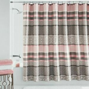 US Mainstays Princeton Jacquard Fabric Shower Curtain Damask Blush Taupe Bath