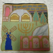 Tefilin bag Jadaica Judaic hand made needlepoint wool 9x9 in teffilin teffillin
