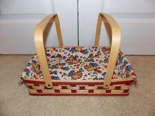 * Longaberger * 20 00004000 06 Medium Potluck Combo (Basket & Liner) Red / Natural Stain