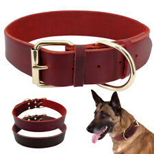 Genuine Leather Pet Dog Collars Adjustable for Medium Large Dogs German Shepherd