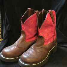 Justin Gypsy Boots Brown Pink Hearts Flowers Size 7 Boho Cowboy Hippie Festival