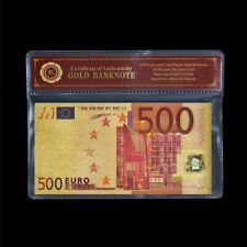 WR €500 Euro Pure Gold Foil Banknote Colorful EU Business Gift /w COA Sleeve