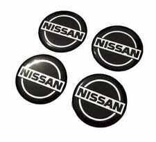 NISSAN 50 mm. 4Pcs Black Resin Wheel Center Caps Logo Badge Decal Sticker Emblem