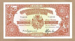 TONGA: 4 Shillings Banknote, (UNC), P-9e, 03.11.1966, No Reserve!